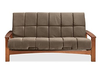 """Sofas 2 Go Vancouver Vintage Oak Futon Frame W/ 8"""" Pannel Quilted Pocketed Coil Innerspring Futon Futon Frame with Mattress One Size Ash"""