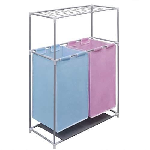 vidaXL Wäschekorb 2 Fächern mit Trockengestell Wäschesammler Wäschesortierer