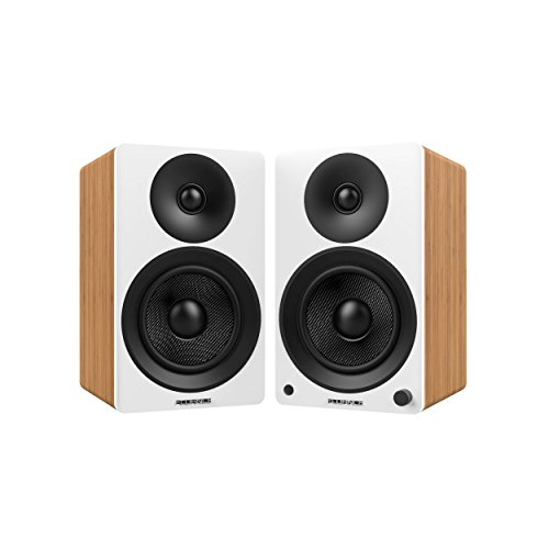 "Fluance Ai40W Powered Two-Way 5"" 2.0 Bookshelf Speakers with 70W Class D Amplifier for Turntable, PC, HDTV & Bluetooth aptX Wireless Music Streaming (Lucky Bamboo)"