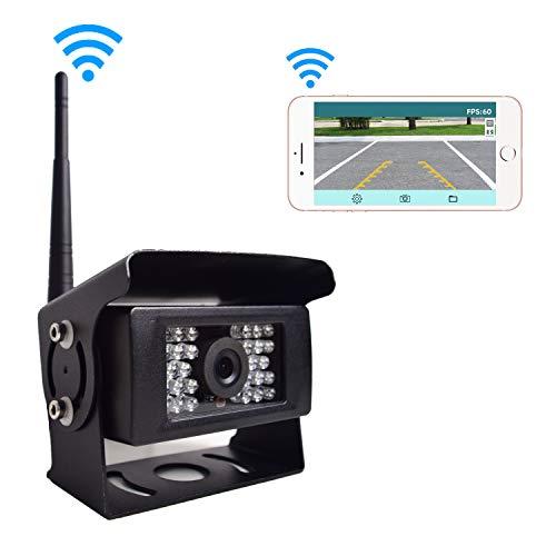 12-24V Digitale Wifi Telecamera Retromarcia, Telecamera Parcheggio Senza Fili, 28 IRs Visione Notturna Impermeabile IP69K, compatibile con iPhone Android Smartphone per Roulotte Camion Camper RV