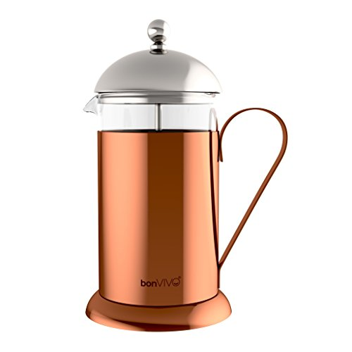 bonVIVO® GAZETARO II cafetera (French Press) de diseño y Prensa Francesa Fabricada con Acero Inoxidable y Vidrio con Acabado en Cobre-Cromo con filtros, tamaño: 1 L / 1000 ml