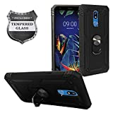 Z-GEN - for LG K40, Harmony 3, Xpression Plus 2 (2019) LM-X420, LG Solo LTE L423DL - Hybrid Phone Case w/Ring Stand + Tempered Glass Screen Protector - RS3 Black