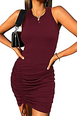 FEATURES - Women Dresses / Summer Dresses For Women / Casual Crew Neck Combines Pull On Closure / Basic Solid Color Sleeveless Sundresses / Stretch Fabric And Polyester Blend Fabric / Not See Through Moderate Thickness / Lightweight Soft Breathable M...