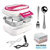 LUCKSTAR Electric Heating Lunch Box -12V Car Use and 110V Home Office Use 2 in 1 Portable Electric Heating Food Warmer, Bento Meal Heater Lunch Box with 304 Removable Stainless Steel Container