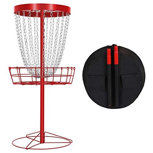 YAHEETECH 24 Chain Disc Golf Basket Portable Metal Flying Disc Golf Target Practice Basket w/Carrying Bag