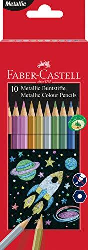 FABER-CASTELL 201583 Hexagonal-Buntstifte metallic, 10er Kartonetui