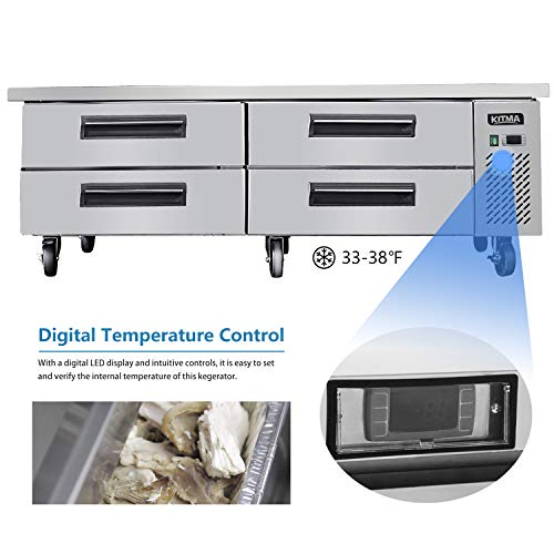 Commercial 4 Drawer Refrigerated Chef Base - KITMA 72 Inches Stainless Steel Chef Base Work Table Refrigerator, 33 °F - 38°F 5