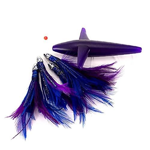 Uayasily Pesca a Traina Esche Salata Tuna Feathers Rig Teasers Squid Esche Pesca in Mare Aperto Proiettile Testa Viola
