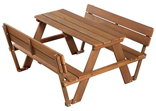 roba Kinder Outdoor Sitzgruppe \'Picknick for 4\' Outdoor +, mit Rückenlehnen, Sitzgarnitur mit 2 Bänken, 1 Tisch, Massivholz, für drinnen und draußen, wetterfest, besonders langlebig