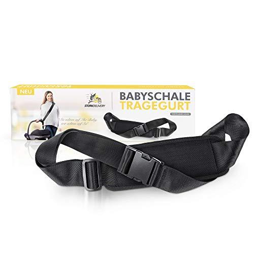 StorkDelivery Tragegurt für Babyschalen - Profi Tragehilfe für Babytragen - Größen verstellbar - mit hochwertigem Schulterpolster (1 Paar, Schwarz)