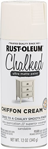 Rust-Oleum 302596 Chalked Spray Paint, 12 oz, Chiffon Cream/Off White