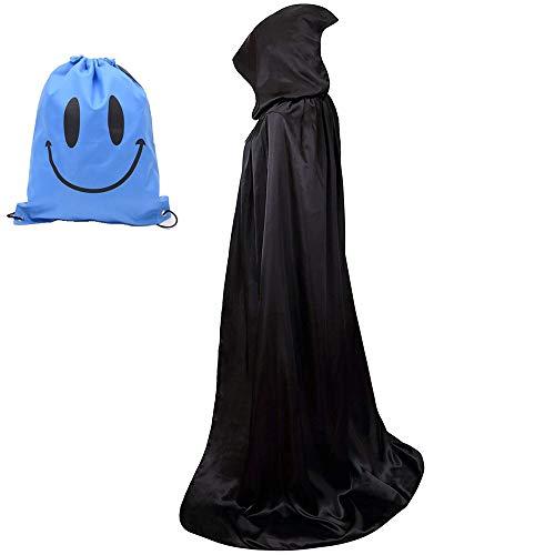 Myir Largo Capa con Capucha, Unisex Adulto Disfraz de Halloween Fiesta Disfraces Vampiro Traje (L, Negro)
