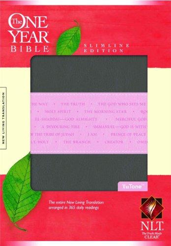 The One Year Bible NLT, Slimline Edition, TuTone (LeatherLike, Heather Gray/Pink)