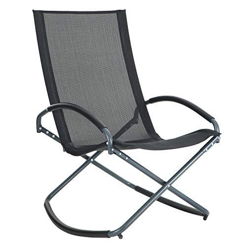 SONGMICS Relaxliege Liegestuhl, relaxsessel, Sonnenliege, Gartenstuhl, Schaukelstuhl, Schaukelsessel, Eisengestell, Kunstfasergewebe, atmungsaktiv, komfortabel, bis 150 kg belastbar, schwarz GCB28BK
