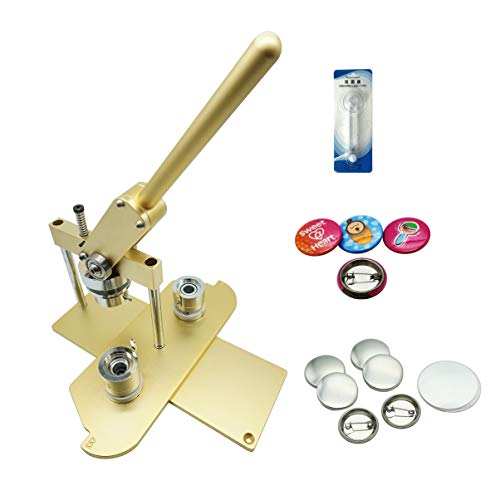 """ChiButtons (KIT) 25mm(1"""") Pro Badge Machine Button Maker B400 + Mould + 500 Parts + Circle Cutter Metric System Metric System (Golden)"""