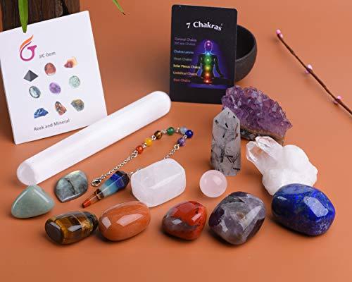 JIC Gem 14 Pcs Healing Crystals for Chakra Balancing:...