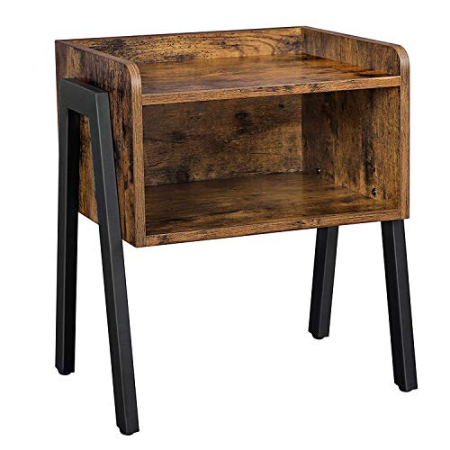VASAGLE Side Table, Nightstand, Stackable End Table with Open Storage Compartment, Retro Rustic Chic, Industrial Accent Furniture with Steel Legs, Rustic Brown and Black LET54X (Kitchen & Home)