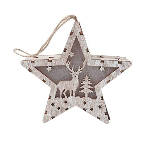 VOSAREA Colgantes de Navidad Casitas de Madera de Luces en Forma de Estrella Adorno del Árbol de Navidad Colgante Decoración de Madera Navidad