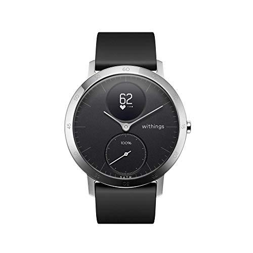 Withings Steel HR Hybrid Smartwatch - Fitnessuhr mit Herzfrequenz und Aktivitätsmessung, 40mm - Schwarz002, Schwarz Silikonarmband