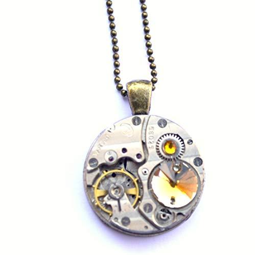 Sun Crystal Heart steampunk industrial necklace silver bronze watch mechanism