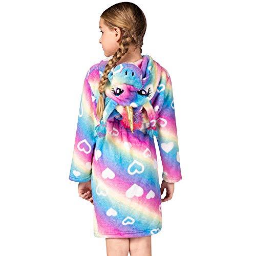 Kinder Bademantel Einhorn Bademantel Unisex Flanell Nachthemd Kapuze Nachtwäsche Gr. 10-11 Jahre, Regenbogen Sternenhimmel Herz
