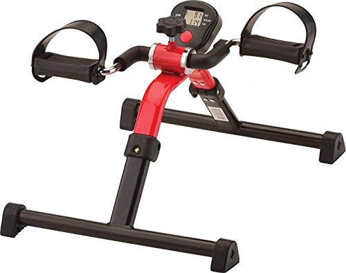 NOVA Medical Products Pedal Exerciser with Digital Display Tracker, Foldable Hand and Foot Cycle Exerciser, Great for Home, Office or Travel, Red
