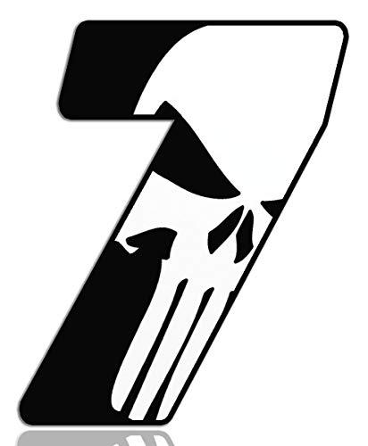 Biomar Labs® Número 7 Punisher Calavera Vinilo Adhesivo Pegatina Coche Auto Motocross Moto Sport Start Racing Tuning N 367
