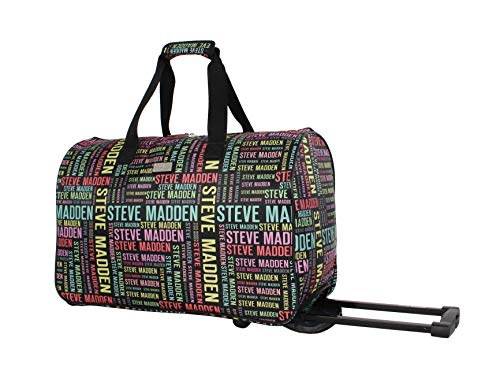 Steve Madden Designer Carry On Luggage Collection - Lightweight 20 Inch Duffel Bag- Weekender Overnight Business Travel Suitcase with 2- Rolling Spinner Wheels (Rainbow Logo)