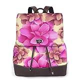 Yuanmeiju Womens Rucksack Backpack Red Blue Rectangle Plaid Check Shoulder Schoolbag Leather Travel Bag Ladies