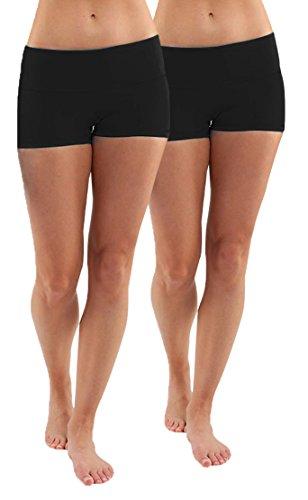 iloveSIA 2X Hotpants Laufhose Yoga Schwarz Shorts Yoga Boy Shorts Badeshorts Shorty,M