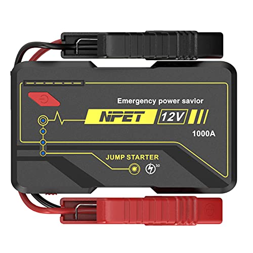NPET P4F 1000A Peak 10000mAh Car Battery Jump Starter - for up to 6.0L Gasoline/3.0L Diesel Engines, 12V Auto Battery Booster Pack, Portable Power Bank with USB Quick Charge 3.0