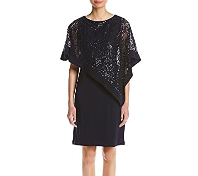 Sequined lace poncho overlay Boat neck Lined Pull over