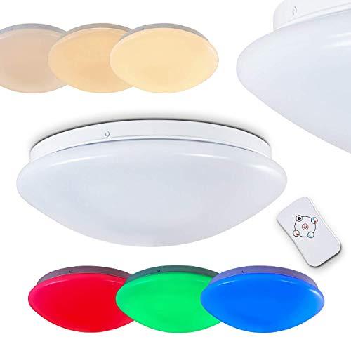 LED Designer Deckenleuchte Brighton klar mit RGB Farbwechsler 12 Watt – runder Deckenspot mit Fernbedienung und farbigem Licht – Deckenlampe mit eingebauten LEDs – Dimmbar mit Nachtlichtfunktion