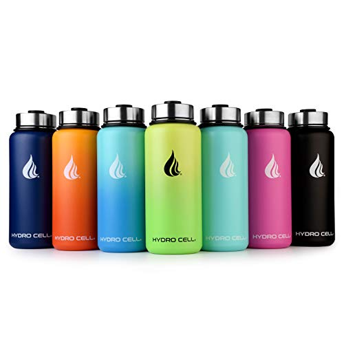 Hydro Cell Stainless Steel Water Bottle w/Straw & Wide Mouth Lids (40oz 32oz 24oz 18oz) - Keeps Liquids Hot or Cold with Double Wall Vacuum Insulated Sweat Proof Sport Design (Neon/Neon 32 oz)