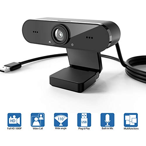 Webcam with Microphone, 1080P High-Definition Desktop or Laptop Webcam, USB Camera with Built-in...