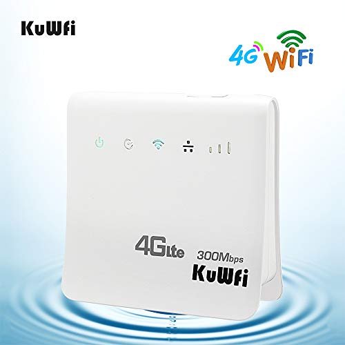 KuWFi Router inalámbrico 4G con Ranura para Tarjeta SIM, inalámbrico de 300Mbps 4G LTE CPE para Ranura de Tarjeta SIM con Soporte de Puerto LAN Funciona con Tarjeta SIM Movistar/Orange/Yoigo/Vodafone