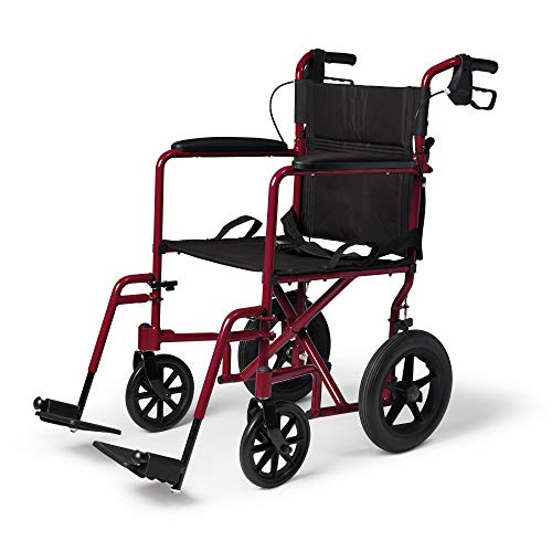 Medline Lightweight Transport Wheelchair with Handbrakes, Folding Transport Chair for Adults, 2 inch Wheels, Red