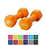RitFit Set of Two Neoprene Dumbbells Coated for Non-Slip Grip, 1 lb-20 lb (10 Pound(Orange))