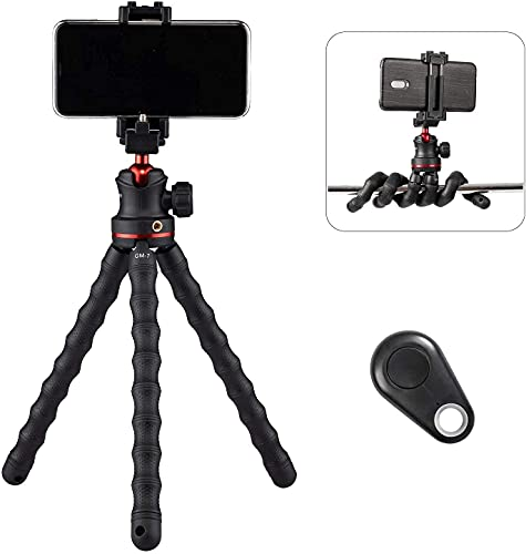 GIZIMOS Phone Tripod, Flexible Phone Stand with Bluetooth Remote and Phone Holder, Compatible for iPhone, Android, Samsung, Google Pixel Mobile Phones, Camera, GM-7 (Wireless Phone Accessory)