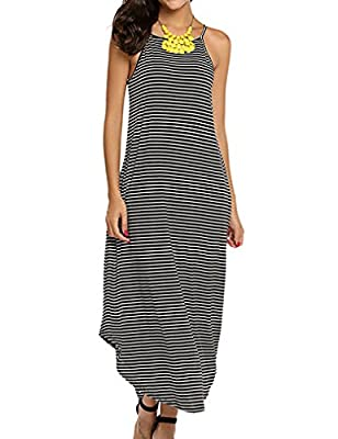 ★★Fashion Design: Women's Casual Sleeveless Beach Dress, Fashion stripes pattern, Elastic fabric, is perfect for beach or daily casual wear ★★Irregualar Style: Handkerchief hem and the High-cut neckline ★★Maxi Sundress Featured Strap, Racerback,Asymm...