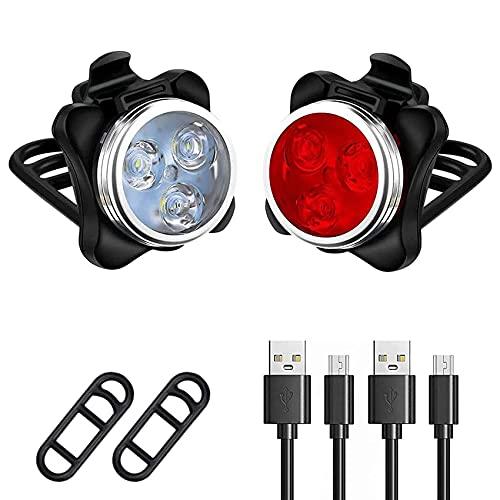 Rpanle Luci Bici LED, 2 Pezzi Set Luci per Biciclette, Impermeabile 4 modalit di Luminosit, Luce Anteriore e Fanale Posteriore Ricaricabile USB, per Bici Strada e Montagna