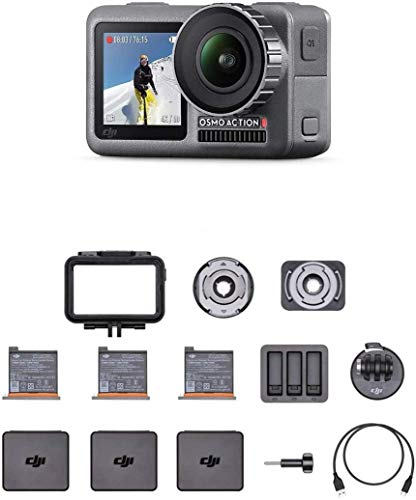 DJI Osmo Action Caméra - Caméra Numérique Double Affichage, Résistant à l'Eau jusqu'à 11m, Stabilisation Intégrée, Photo et Vidéo en 4K HDR à 100Mbps, Contrôle Vocal, Kit d'Accessoires Inclus - Noir