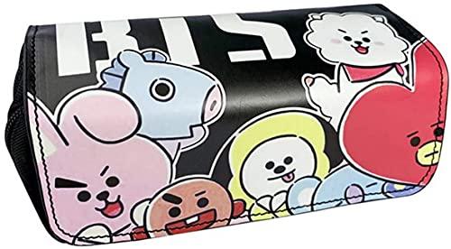 AOOPOO Sacchetto della matita BTS - Astuccio Kpop BTS Bangtan Boys per ragazze dei ragazzi Studenti e forniture per ufficio e Borsa per cancelleria per studenti o borse per cosmetici