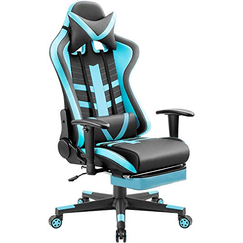 Homall Ergonomic High-Back Racing Chair Pu Leather Bucket Seat,Computer Swivel Office Chair Headrest and Lumbar Support Executive Desk Chair with Footrest, Black/Blue