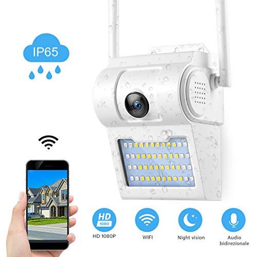 FREDI HD 1080P Telecamera wifi esterno Con LED esterno Videocamere di Sorveglianza WIFI Esterno