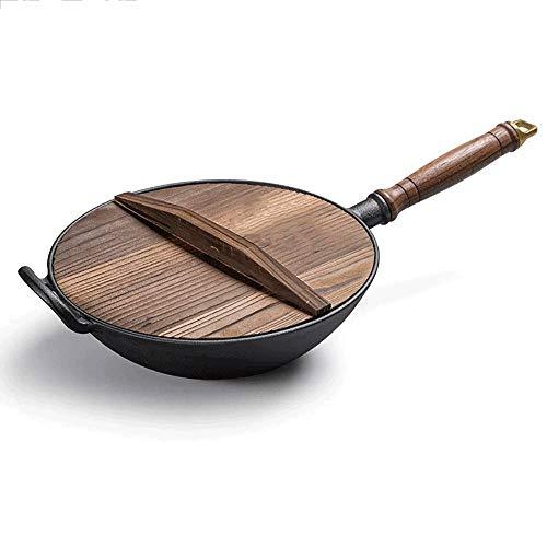 SCYMX GCCLZ Gusseisen-Wok, gewürzt mit Holzdeckeldurchmesser und großen Griffen, Pfanne umrühren (Color : C)