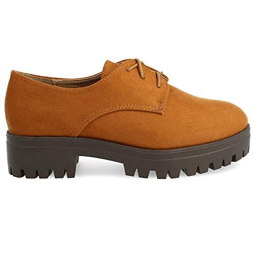 Zapato con Cordones Redondos Tipo Blucher, con Plataforma de Goma. Altura del Tacon: 4 cm. Altura de Plataforma: 3 cm. Talla 40 Cuero