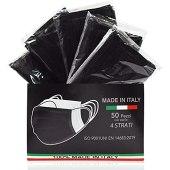 50 Pezzi MADE IN ITALY Mascherina_chirurgica_Monouso protettiva colorata personale 4 strati CE tipo IIR, Nasello Regolabile, Pacchi individuali (Nero)
