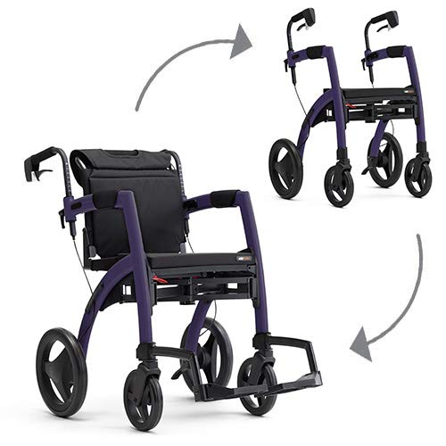 Rollz Motion 2-in-1 rollator and Transport Chair (Dark Purple, Regular)