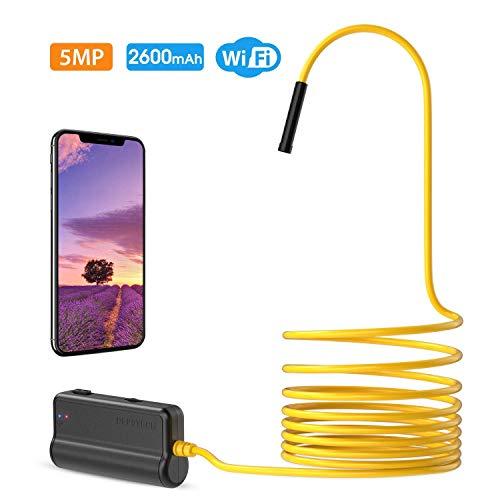 DEPSTECH Endoscopio Wireless WiFi Megapixel 5MP HD Semirigido Telecamera di Ispezione Impermeabile, Compatibile con Samsung/Android/iPhone/iPad (5 Metri)